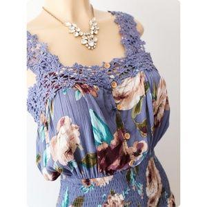 NEW Blue Purple Floral Crochet Trim Button Front Smocked Waist Cute BOHO Romper